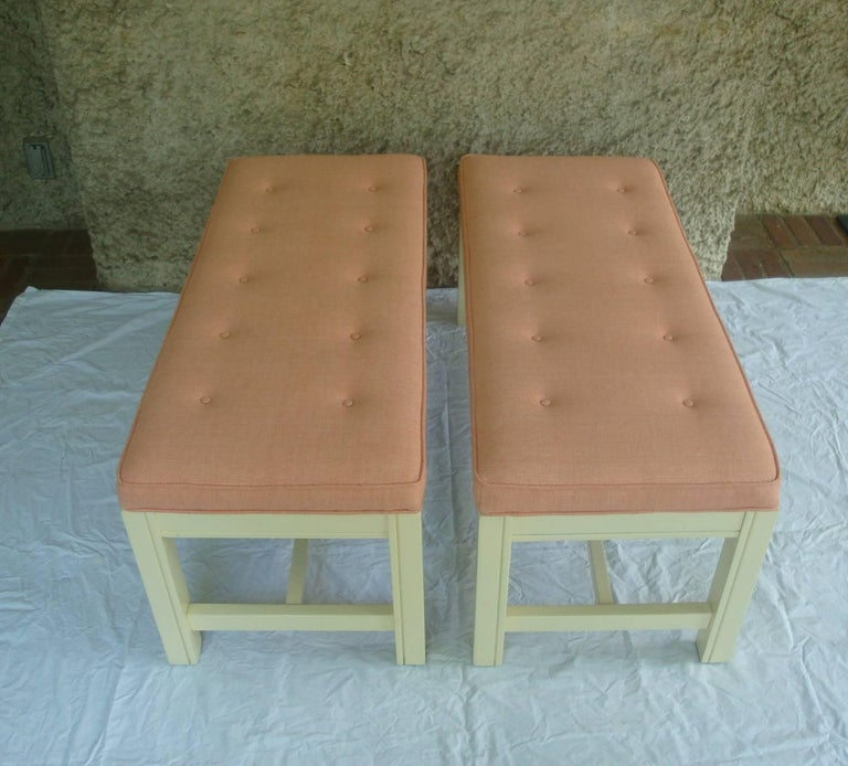 Modern 1960s Orange Parson Stool Benches with White Bases, Pair For Sale