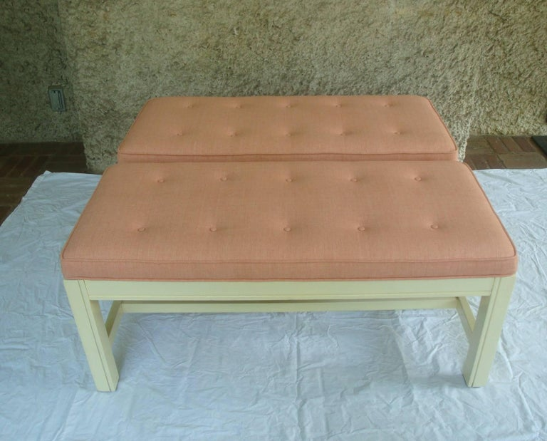 1960s Orange Parson Stool Benches with White Bases, Pair In Excellent Condition For Sale In Richmond, VA