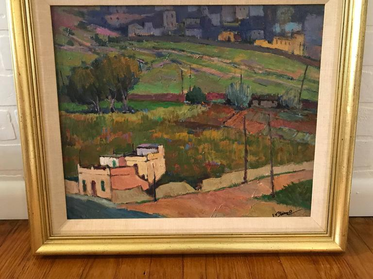 Hand-Painted 1980s Tuscan Landscape Oil Painting, Framed For Sale