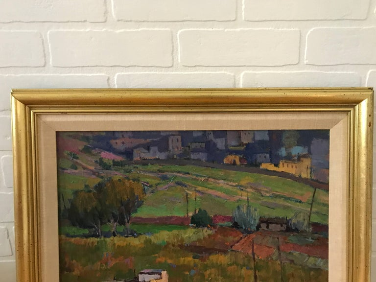 Offered is a fabulous, large 1980s Tuscan landscape oil painting. Framed and matted. Signed, bottom right.