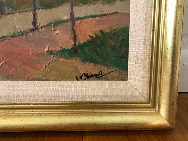 1980s Tuscan Landscape Oil Painting, Framed In Excellent Condition For Sale In Richmond, VA