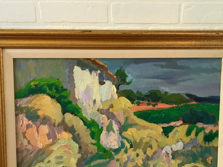 Offered is a gorgeous, 1970s Italian landscape. Either oil or acrylic, on canvas. Framed and matted. Signed, bottom right.