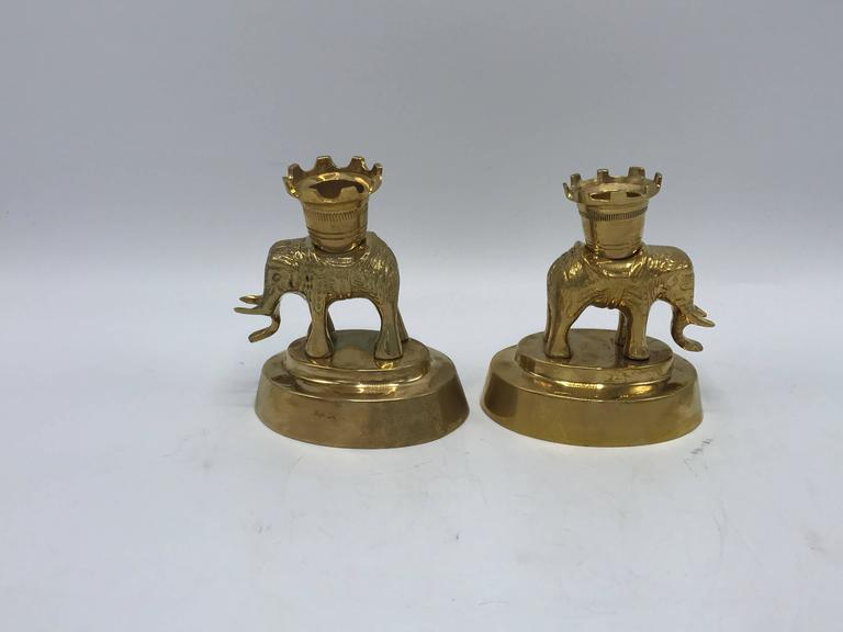 Hollywood Regency 1970s Mottahedeh Brass Elephant Sculpture Candlesticks, Pair For Sale