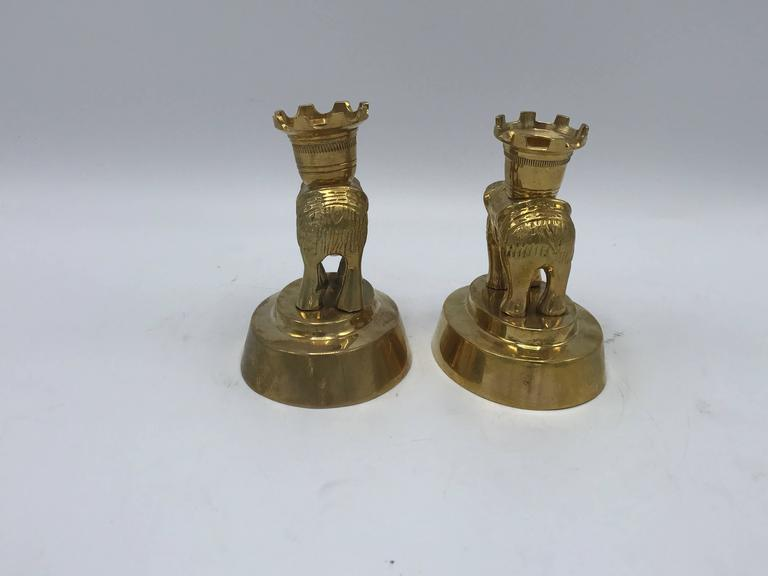 American 1970s Mottahedeh Brass Elephant Sculpture Candlesticks, Pair For Sale