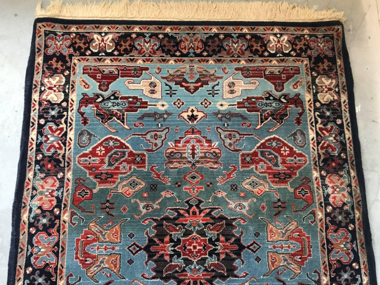 1930s turkish red white and blue hali rug with fringe at 1stdibs. Black Bedroom Furniture Sets. Home Design Ideas