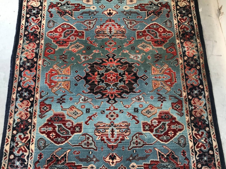 Hand Woven 1930s Turkish Red White And Blue Hali Rug With Fringe For
