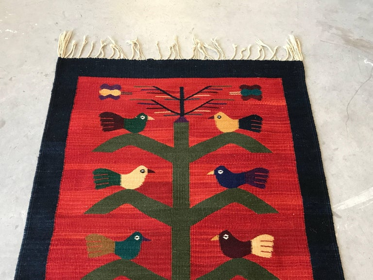 1950s Red Kilim Rug With A Bird And Potted Tree Motif For