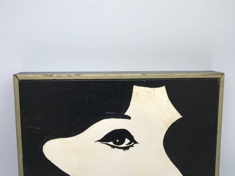 Offered is a beautiful, 1960s abstract-modern black and white oil-on-canvas painting of Jackie O or Edie Sedgwick. Framed.