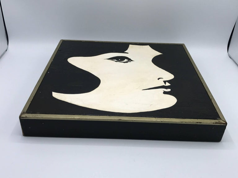 20th Century 1960s Modern Black and White Jackie O Oil Painting, Framed For Sale