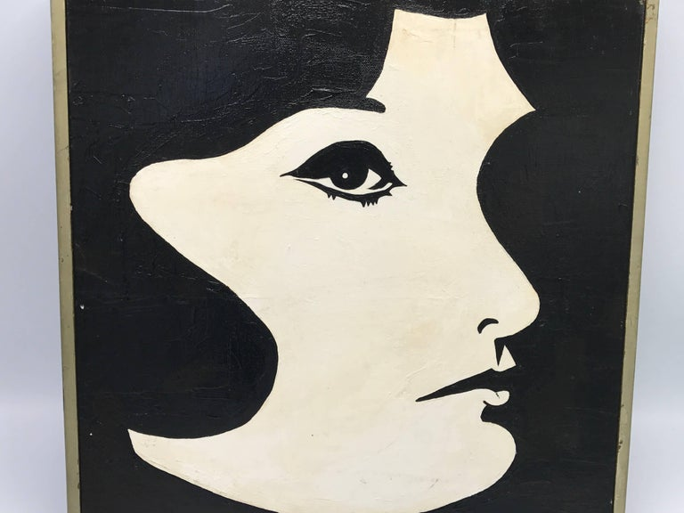 Hand-Painted 1960s Modern Black and White Jackie O Oil Painting, Framed For Sale