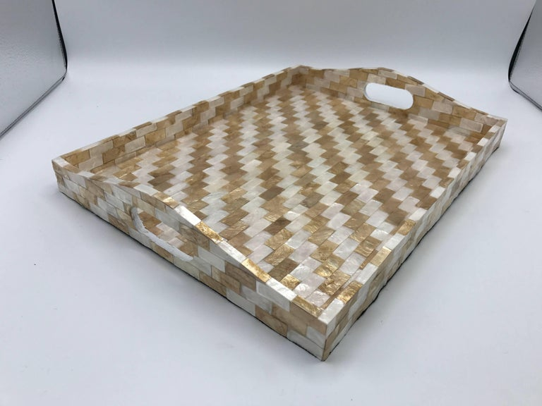 1980s White And Gold Mosaic Resin Tray For Sale At 1stdibs