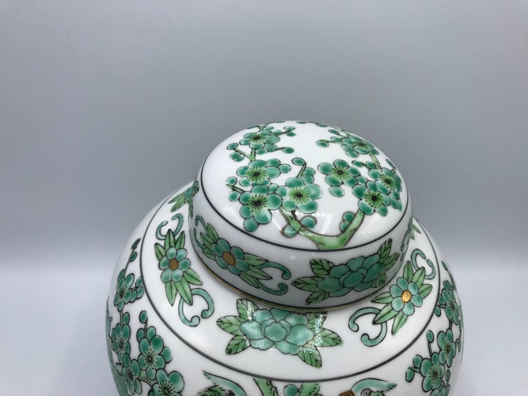 Offered Is A Gorgeous 1960s Gold Imari Ginger Jar With Green White