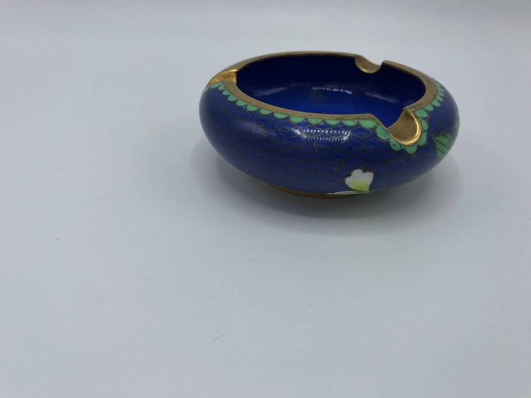 Chinoiserie 1960s Blue Cloisonné Ashtray with Brass Lip For Sale