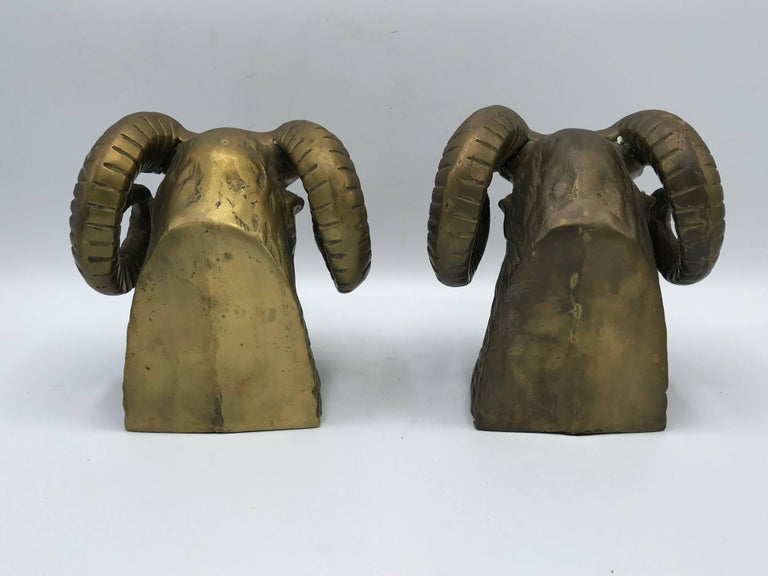 1970s Brass Ram's Head Sculpture Bookends, Pair In Good Condition For Sale In Richmond, VA
