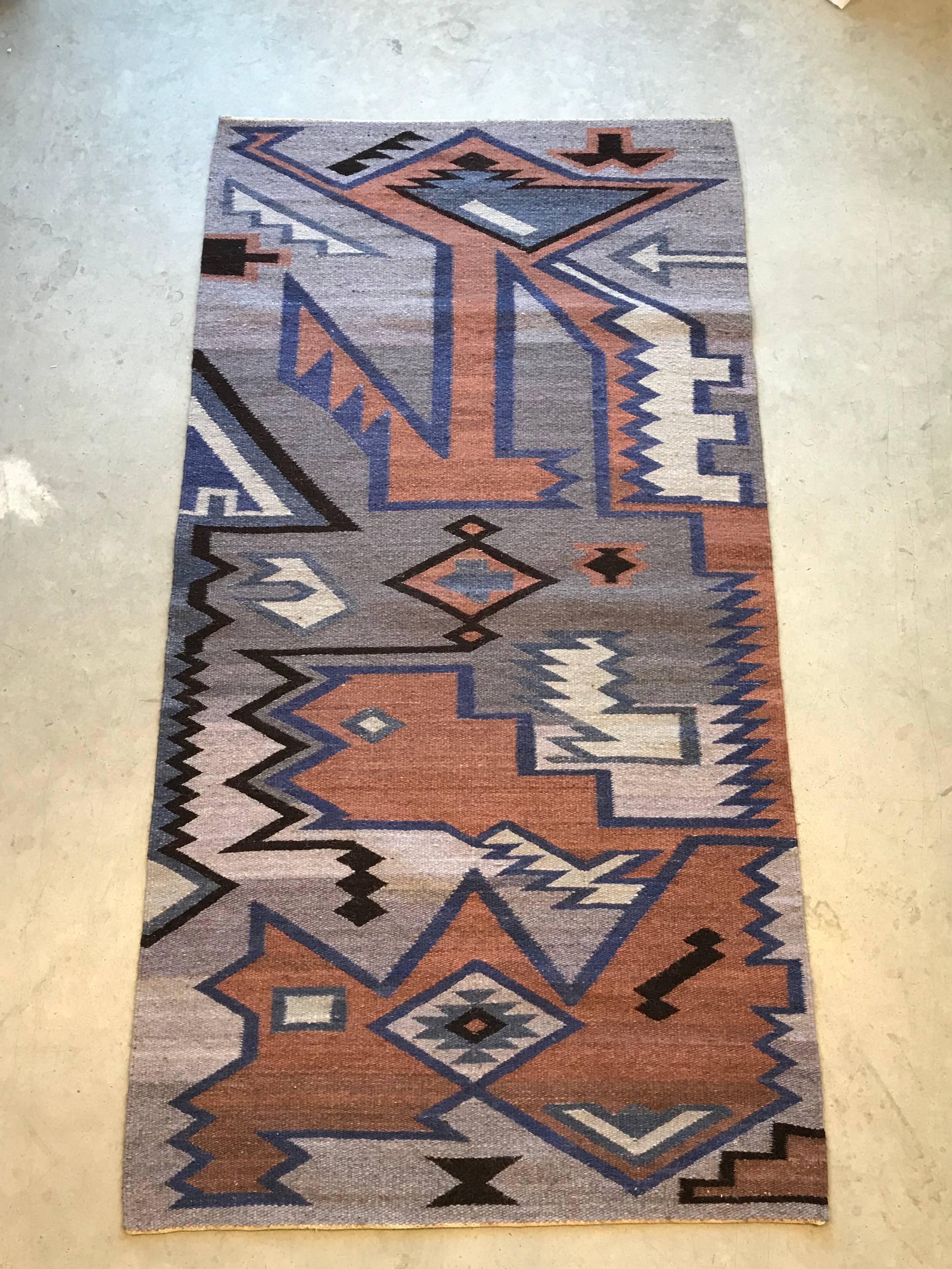 Aztec Motif Wool Kilim Dhurrie Rug 41x80 At 1stdibs