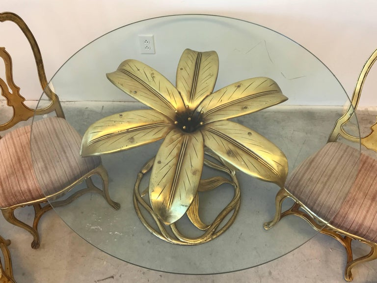 1980s Arthur Court Lily Dining Table and Chair Set, Set of ...