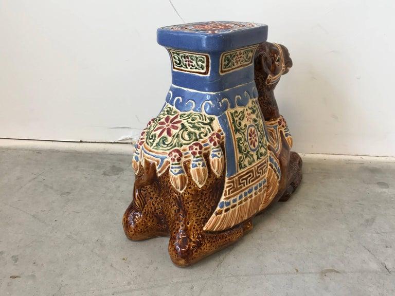 Glazed 1970s Ceramic Camel Sculpture Garden Stool For Sale