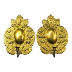 Large Brass Repousse Wall Sconces, Pair