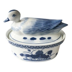 1970s Blue and White Duck Tureen