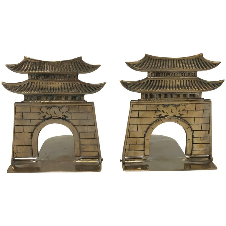 1970s Brass Pagoda Bookends, Pair For Sale