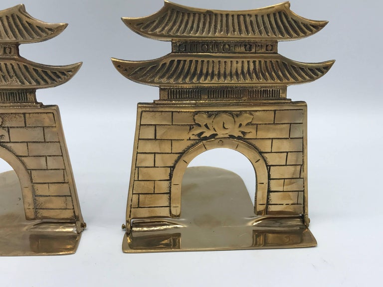 Chinoiserie 1970s Brass Pagoda Bookends, Pair For Sale