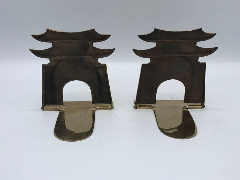 20th Century 1970s Brass Pagoda Bookends, Pair For Sale
