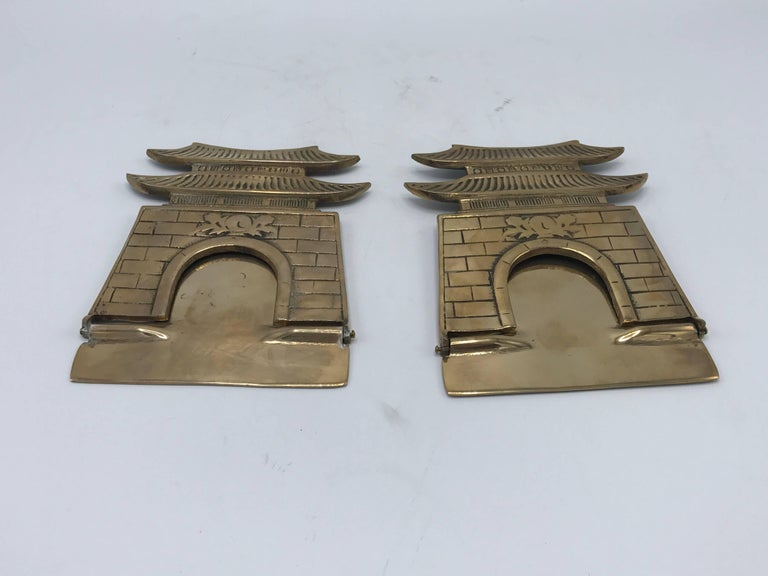 1970s Brass Pagoda Bookends, Pair For Sale 1