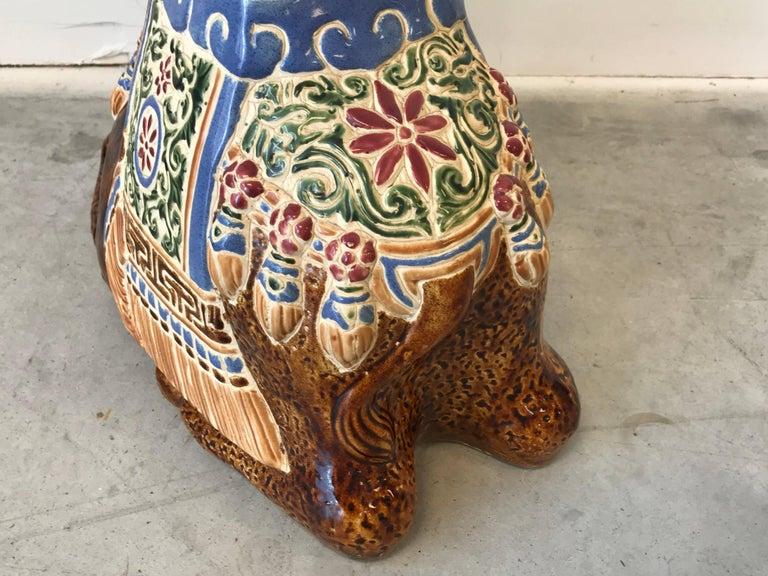 1970s Ceramic Camel Sculpture Garden Stool For Sale 4