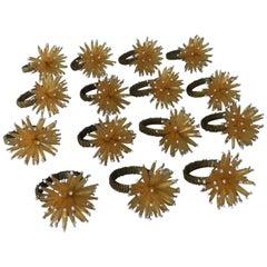 1980s Modern Yellow and Gold Beaded Starburst Napkin Rings, Set of 16