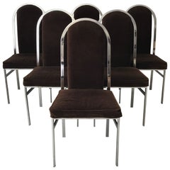 1960s Milo Baughman Style Chrome Dining Chairs with Brown Velvet, Set of Six