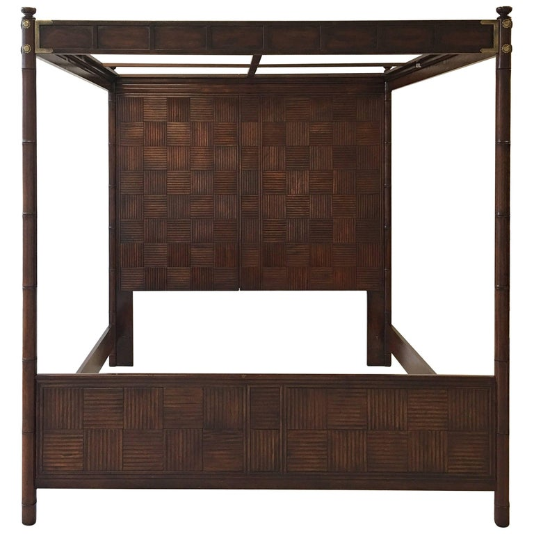 1970s Henredon Faux Bamboo Campaign Style Canopy Bed for King-Size