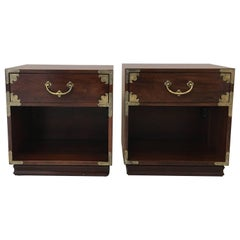 1970s Henredon Asian Campaign Chest Nightstands, Pair