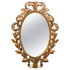 Oval Italian Carved Wood Gilded Mirror