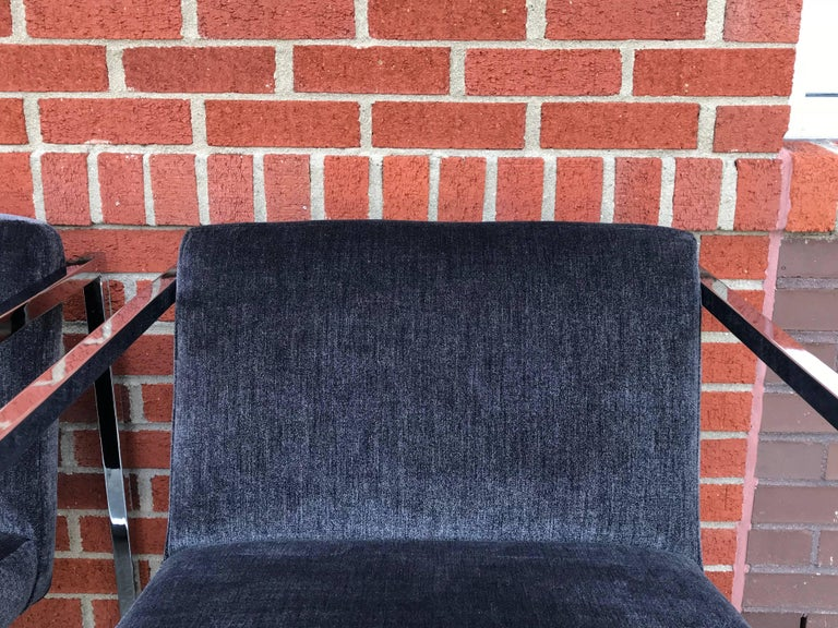 Polished 1980s Milo Baughman Style Chrome Cube Chairs in Gray Scalamandre Velvet, Pair For Sale