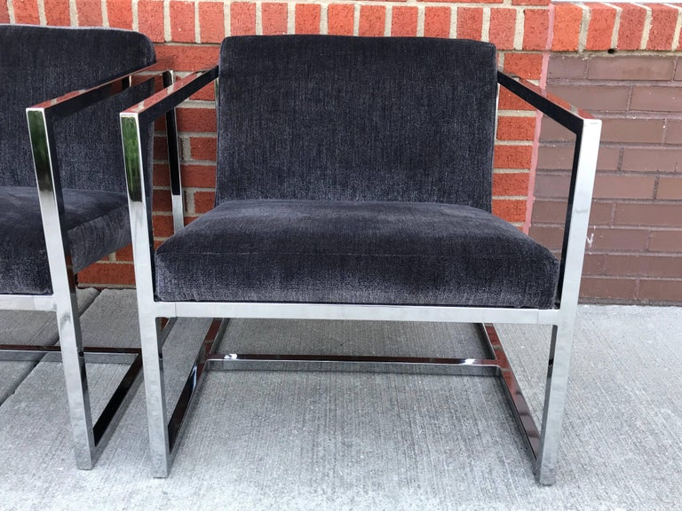1980s Milo Baughman Style Chrome Cube Chairs in Gray Scalamandre Velvet, Pair In Excellent Condition For Sale In Richmond, VA