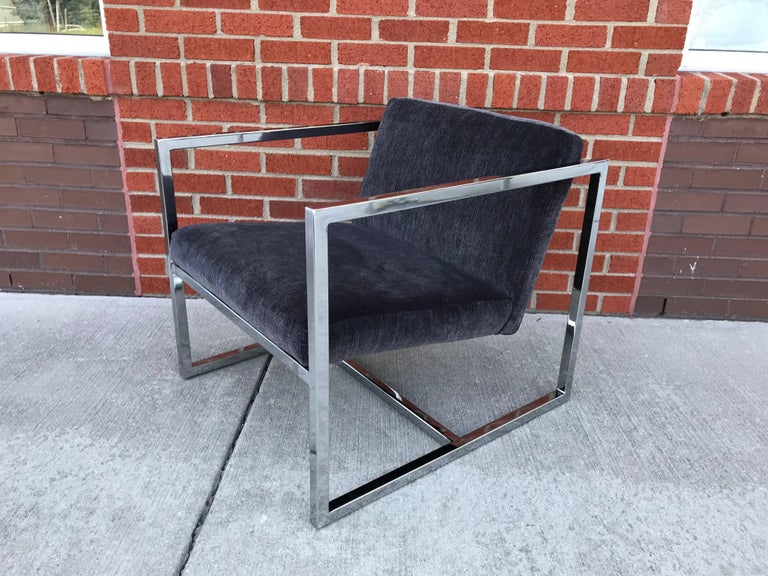 1980s Milo Baughman Style Chrome Cube Chairs in Gray Scalamandre Velvet, Pair For Sale 1