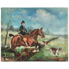 Equestrian Steeplechase with Hunting Hounds Petite Oil Painting