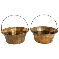 Brass Handled Vide Poche Baskets, Pair