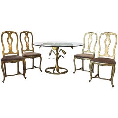 1980s Arthur Court Lily Dining Table and Chair Set, Set of Five