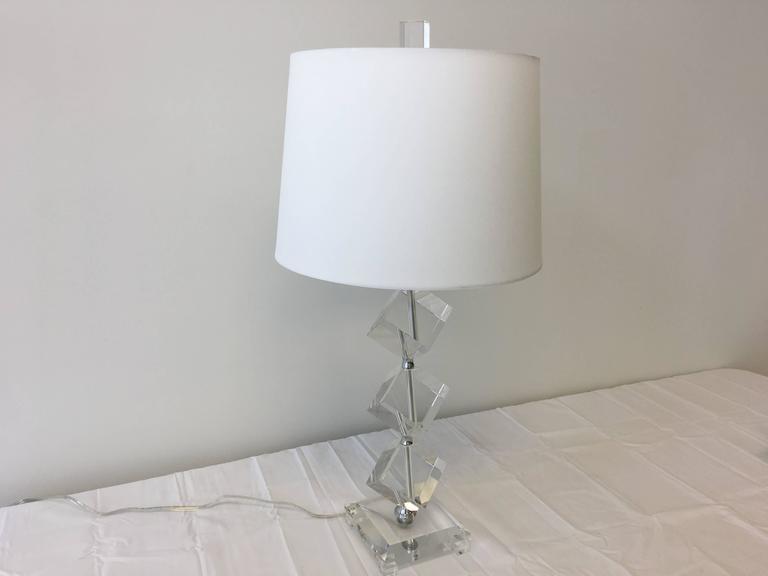 Geometric Crystal Cube Table Lamp At 1stdibs