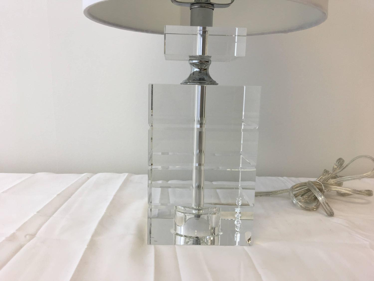 Drexel Crystal Cube Lamp For Sale At 1stdibs