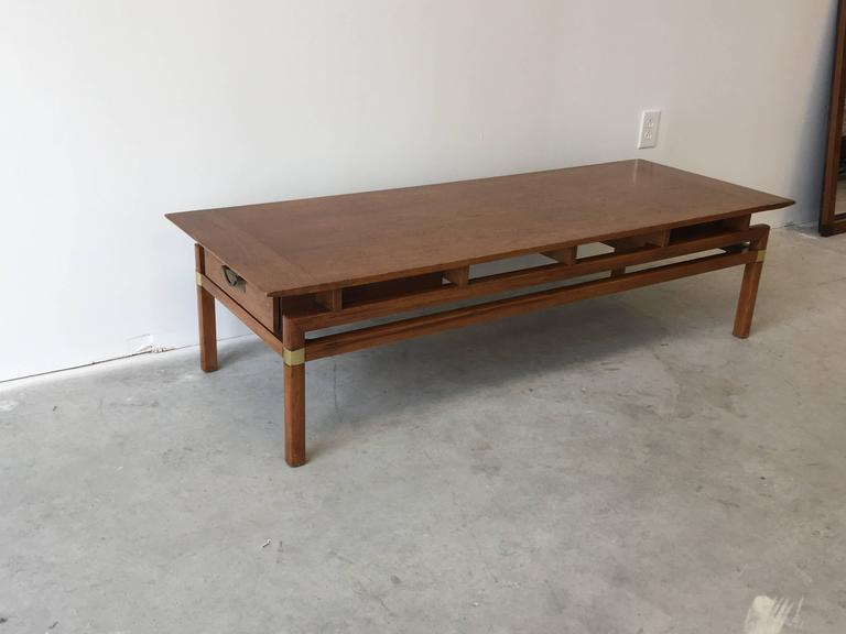 1980s Hickory Hollywood Regency Walnut Coffee Table 3