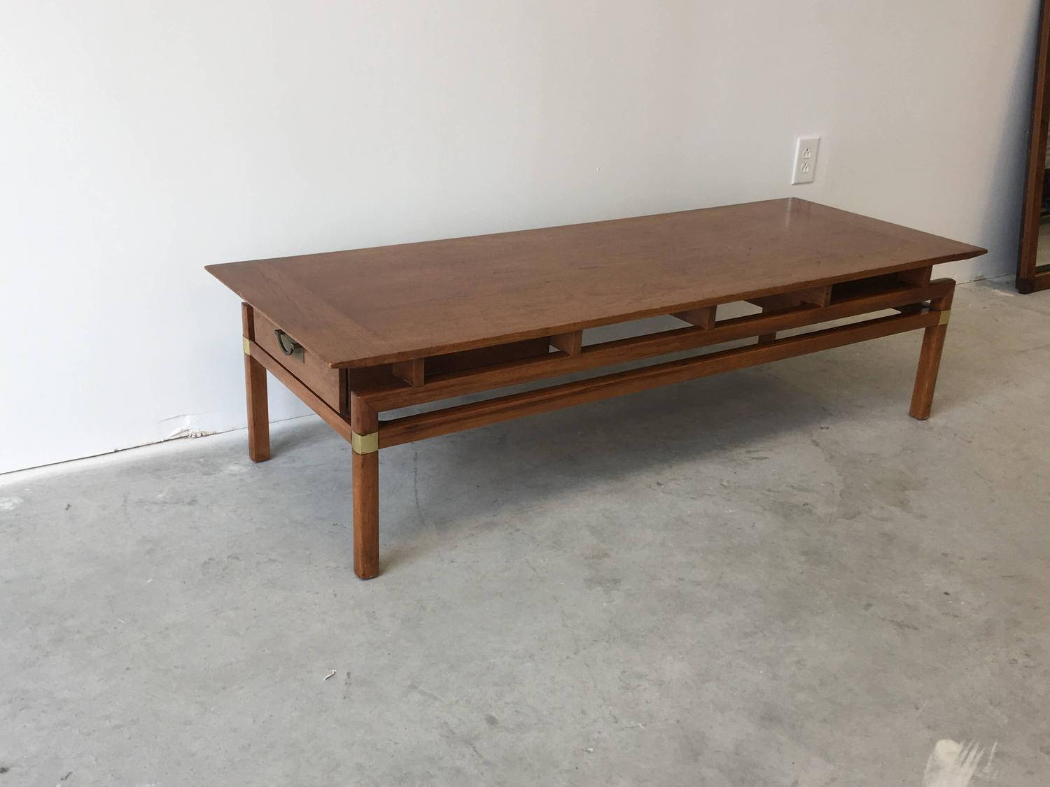 Hickory Hollywood Regency Walnut Coffee Table For Sale At 1stdibs