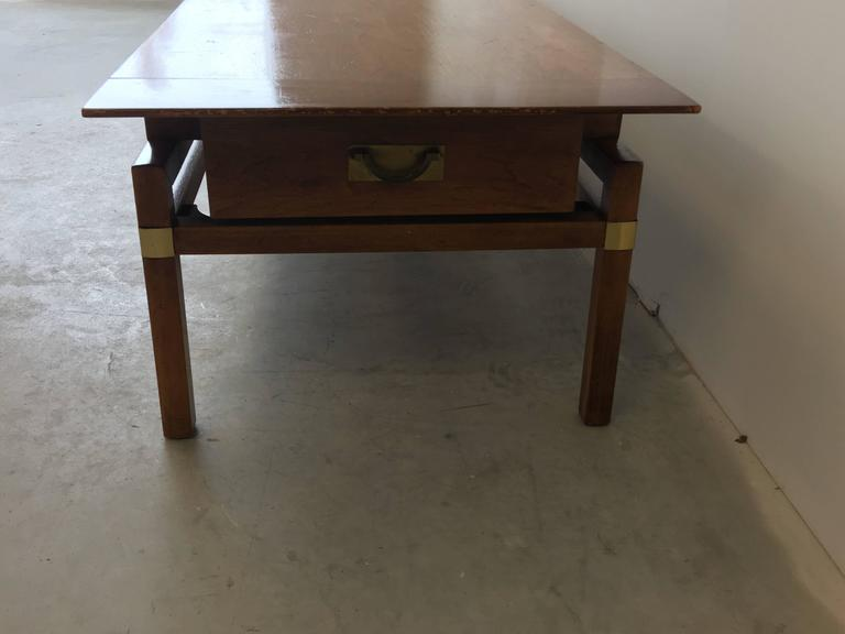 1980s Hickory Hollywood Regency Walnut Coffee Table 5