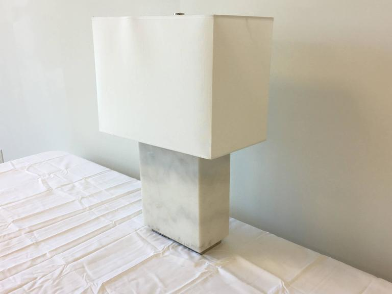 Wonderful Ralph Lauren Modern Solid White Marble Lamp In Excellent Condition For Sale  In Richmond, VA
