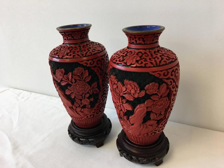 19th Century Chinese Red Cinnabar Cloisonn Vases Pair At 1stdibs