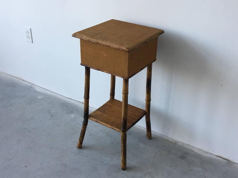 1920s Bamboo And Raffia Side Table Plant Stand At 1stdibs