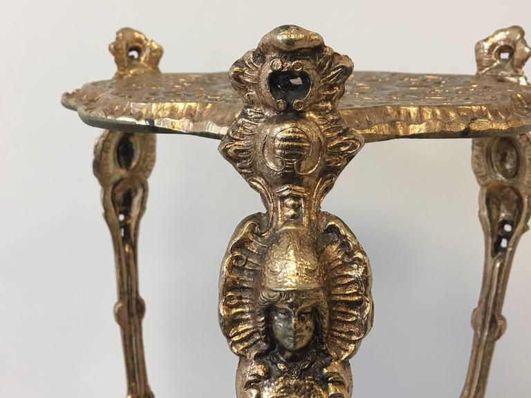 19th Century Art Nouveau Solid Brass Plant Stand Table At