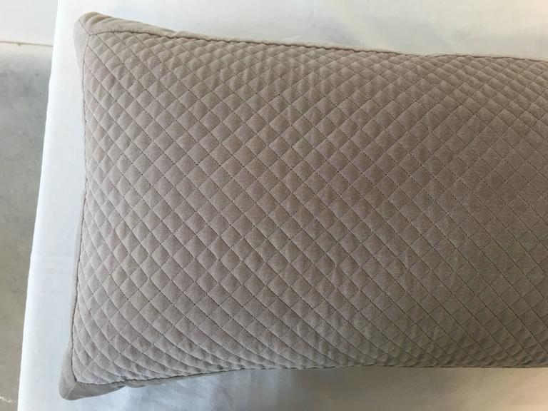 Modern Quilted Pillows Pattern : Modern Taupe Velvet Quilted Accent Pillow For Sale at 1stdibs