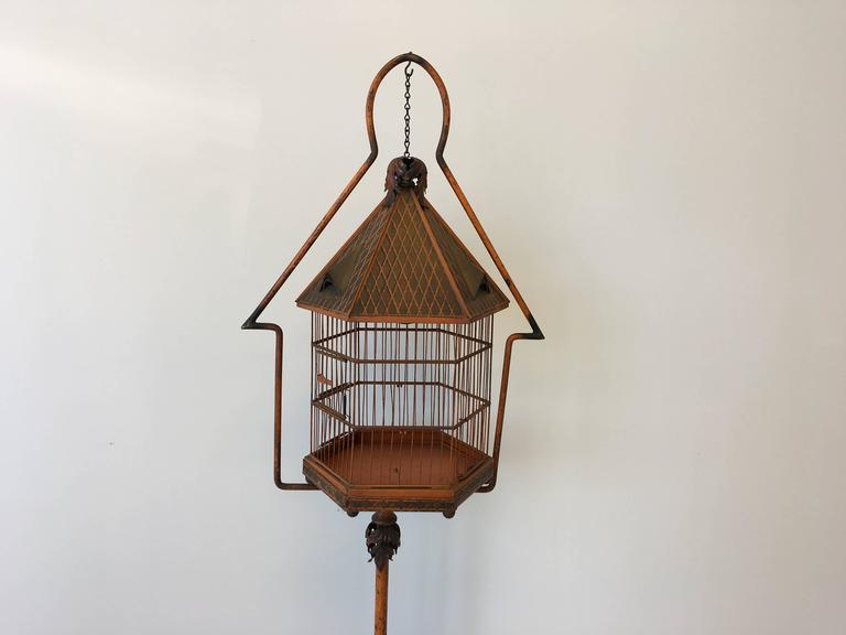 19th century pnf orange tole birdcage and stand at 1stdibs